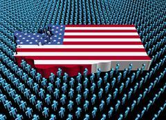 Washington map flag surrounded by many abstract people illustration Stock Illustration