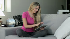 young beautiful woman relaxed using tablet - stock footage
