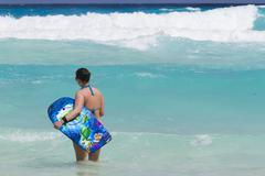 beach of the caribbean sea - stock photo