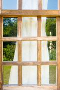 Old wooden windows with drape Stock Photos