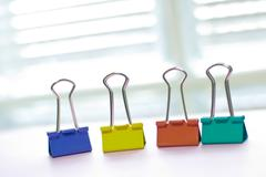 Colorful binder clip Stock Photos
