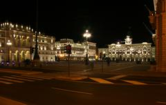 Road in front of piazza unità d'italia in trieste Stock Photos
