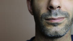 Close Up of Unshaven Man's Face - stock footage