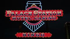 Flashing Neon 'Palace Station' Hotel Casino and Bingo Sign Stock Footage