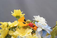 Flower arrangement with ladybug Stock Photos