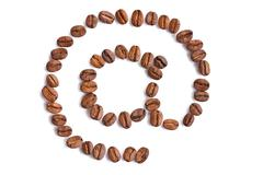 Email symbol made from coffee beans Stock Photos