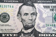 Lincoln Five Dollar Bill - stock illustration