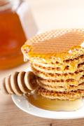 waffle with honey - stock photo