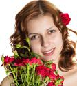 Beautiful girl with red roses Stock Photos
