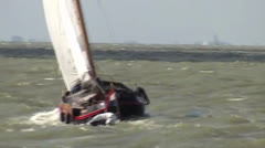 Classic Dutch yacht sailling on IJsselmeer (Holland) Stock Footage