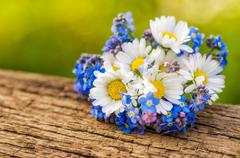 Stock Photo of bouquet with daisies and forget-me-not