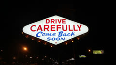Back of 'Welcome to Las Vegas' sign - Drive Carefully Stock Footage