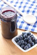 blueberries and jam - stock photo
