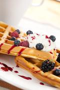 tasty waffle with fruits - stock photo