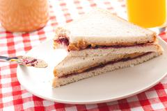 Peanut butter and jelly sandwich Stock Photos