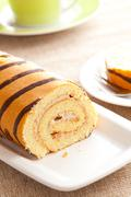 sweet sponge roll dessert - stock photo