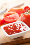 ketchup and tomatoes - stock photo