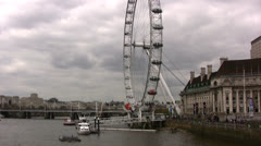 The London Eye sightseeing wheel angled view Stock Footage