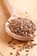 brown linseeds - stock photo