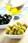 green and black olives - stock photo