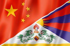 China and tibet flag Stock Illustration