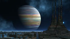 The temple of aliens against the gas giant Stock Footage