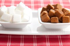 brown and white cubes of sugar - stock photo