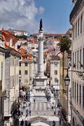 Statue of dom pedro iv, lisbon, portugal Stock Photos