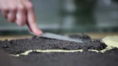 Baker filling in Poppy-Seed-Stollen Stock Footage