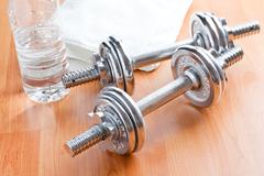 chrome dumbells - stock photo