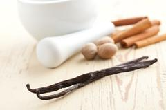 vanilla with nutmeg and cinnamon - stock photo