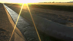 Irrigation Ditch Sun Rays Stock Footage