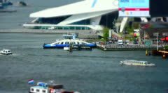 Ferry boat arriving and leaving in a port of Amsterdam, the Netherlands Stock Footage
