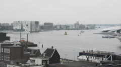 Cruise ship leaving the port on May 7, 2013 in Amsterdam, the Netherlands Stock Footage