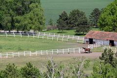Farmland with corral and horse aerial view Stock Photos