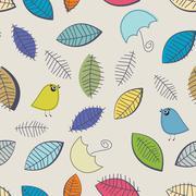 Vintage seamless background with birds Stock Illustration