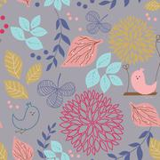 Stock Illustration of Vintage seamless background with birds