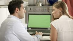 People and web technology, happy married couple surfing the internet with pc - stock footage