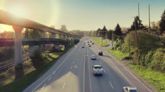 Morning Highway From Above - stock footage