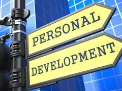 Education Concept. Personal Development Roadsign. - stock illustration