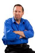 grumpy moody senior - stock photo
