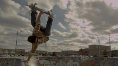 Slow Motion Skateboard Handplant in Skatepark - stock footage