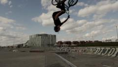 Slow Motion BMX Flip in Skatepark Stock Footage