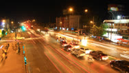Stock Video Footage of Traffic crossroad at night , time lapse zoom in