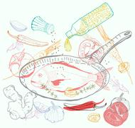 background with taste fish dish - stock illustration