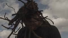 Headbanger at Concert with Dreadlocks in Slow Motion Stock Footage