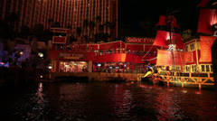 Las Vegas night pirate ship show Senor Frogs Treasure Island HD 1164 Stock Footage