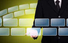 Businessman give blank button instant Stock Illustration