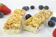 Granola bars with berries Stock Photos