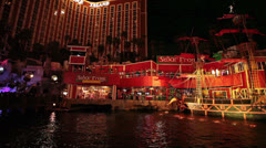 Las Vegas night public show from road pirate ship Treasure Island HD 1165 Stock Footage